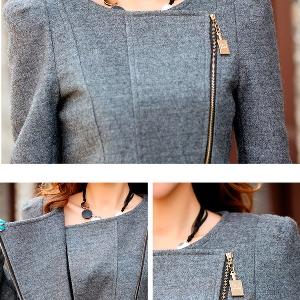 Дамско елегантно палто с цип и яка в сив и черен цвят