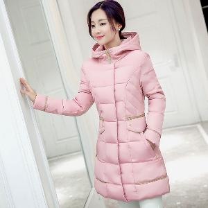Дамско есенно и зимно елегантно и топ памучно яке с качулка и пух червено, черно, зелено, розово