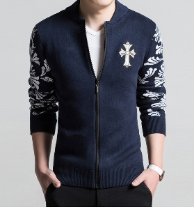 Ανδρικό μπουφάν  για το φθινοπώρο με φυτικά στοιχεία - Μπλε και Μαύρο.