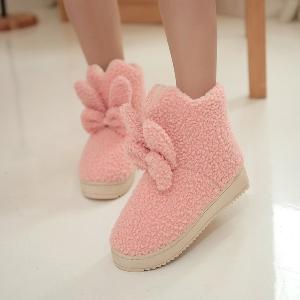 Αδιάβροχες γυναικείες μπότες με κορδέλα και αυτιά κουνελιών σε μαύρο, ροζ και γαλάζιο χρώμα