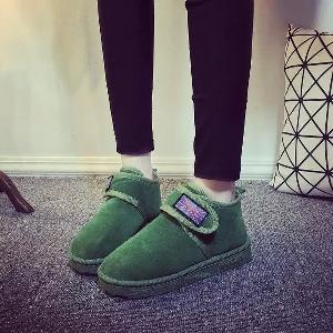 Μοντέρνες γυναικείες μπότες σε τρία χρώματα - πράσινο, μπεζ και μαύρο με βελκρό