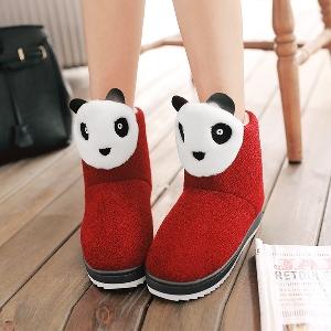 Дебели дамски боти в черен и червен цвят с панда