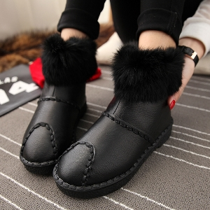 Γυναικείες ζεστές δερμάτινες μπότες με γούνα σε 2 χρώματα