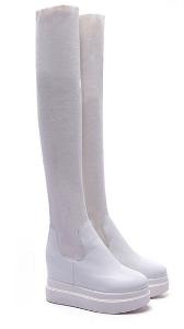 Зимни високи ботуши на платформа от еко кожа и плат - бели и черни