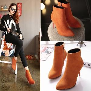 Затворени обувки с тънко високо токче - Черен, Розов, Оранжев цвят.