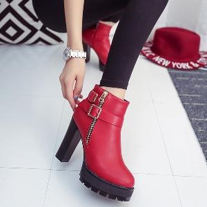 Женски боти с цип и висок ток черни и червени от изкуствена кожа