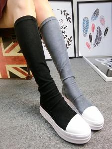 Високи дамски ботуши от плат в бежов, сив и черен цвят - еластични.