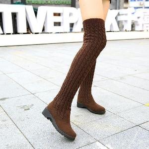 Зимни плетени дълги дамски ботуши в различни цветове сиви, кафяви, черни