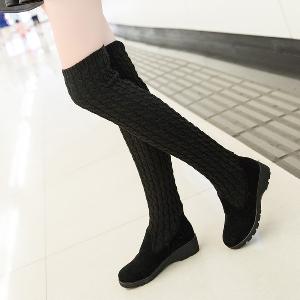 Дамски ботуши с продължение на вълнен плат до коляното в чере, сив и кафяв цвят