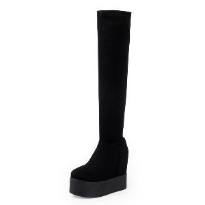 Дамски ботуши от еластичен плат до коляното в черен цвят и отвор на пръстите