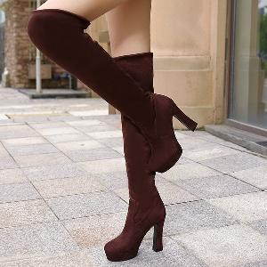 Дамски зимни ботуши на висок ток от велур в черен, кафяв и син цвят