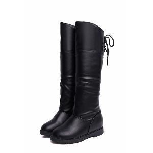 Дамски подвиващи се ботуши - кожени в черен, кафяв и бял цвят