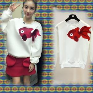 Κυρίες λευκό μακρυμάνικο πουκάμισο με απλικέ κόκκινο ψάρι - Badu.gr ... 10ac1c26045
