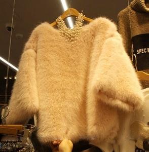 Дамски мек пуловер с три четвърти  ръкав, в два цвят сив и бежов