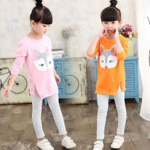 Детски комплект за момичета от две части туника и клин \'Бъкс Бъни\' и Лисица розов оранжев сив