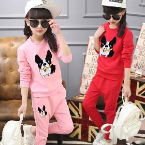 Детски памучни комплекти - екипи от две части горнище и блуза или дълъг панталон - жълт, червен, розов с кученце и анимации