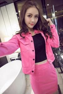 Дамски комплект кожено яке и кожена пола: Розов и Черен цвят