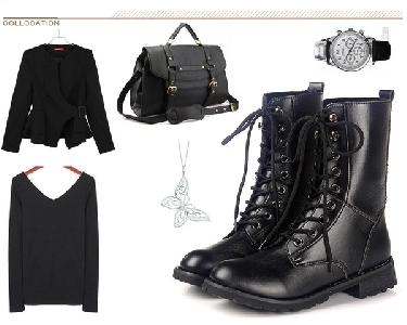 Дамски черни кожени боти в класически стил с връзки
