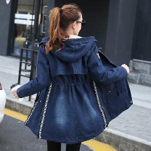 Дамско дълго и широко есенно зимно ватирано яке с памучна подплата отвътре и качулка