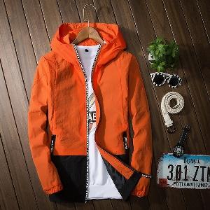 Αθλητικά μπουφάν με κουκούλα σε τέσσερα χρώματα πορτοκαλί, μαύρο, μπλε, γκρι