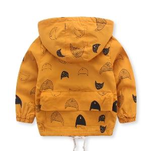 Детско яке за момчета в жълт цвят с качулка с изображения на котета