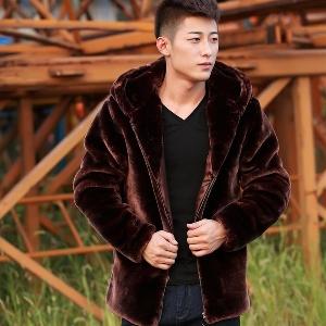 Ανδρικό χειμερινό παχύ παλτό με κουκούλα αποκλειστικά μοντέλα σε γκρι 4913b1999b4