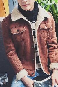 Ανδρικά ζεστά  μπουφάν με βελούδινη επένδυση καφέ και γκρι χρώμα