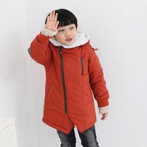 Детско дебело яке с качулка, подплатено в тъмносин и оранжев цвят