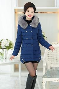 Елегантно дамско зимно яке за жени на средна възраст с пух сиво, синьо, зелено, червено модерно