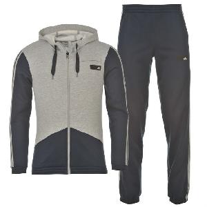 Сив спортен екип - горнище и долнище с качулка //  adidas
