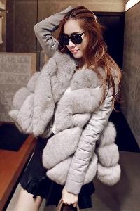 Дамско модерно зимно яке от изкуствена кожа и пух с имитация на лисица червено, сиво, кафяво и дебело