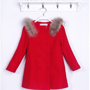 Παιδικό χοντρό παλτό για κορίτσια σε κόκκινο χρώμα - με γούνα και κορδέλα  στη πλάτη και 41d557dda6a