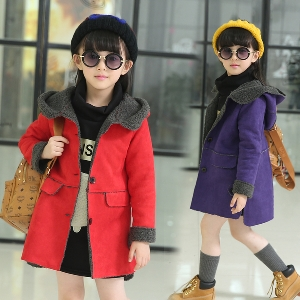 4e14f1fc53c badu.gr - παιδικό παλτό για κορίτσια - παχιά και μακριά με τσέπες και  κουκούλα σε μοβ, ...