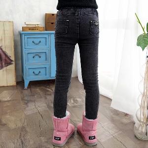 Детски еластичен панталон - тип Слим, в графитен цвят, с декорация на коленете