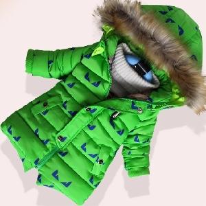 Дебело зимно яке за момчета и момичета - дълго, с качулка и с пух, с картинки на очи, в зелен, черен и светлосин цвят