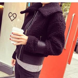 Дамско зимно късо дебело яке с дължина до над ханша черно и розово с обърната яка