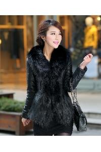 Дамско кожено яке с косъм