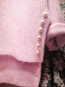 Дамски зимен плетен пуловер от мохер с дълъг ръкав