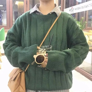 Дамски плътен тъмнозелен, кафяв и оранжев зимен дълъг пуловер