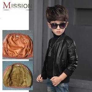 Кожено детско яке за момчета в кафяв и черен цвят, в 2 модела дебелина - есенно-пролетно и зимно