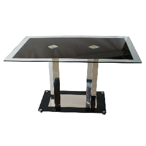 Черна маса със закалено стъкло, хром-никел  Трапезна // 120х70x75h