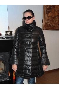 Дамско дълго зимно яке с копчета и пух