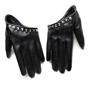 Стилни кожени къси дамски ръкавици с капси за жени