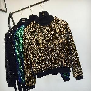 Дамски дискотечен блестящ пуловер с пайети в зелен, черен и златист цвят