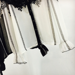 Дамска риза с дантела в черно и бяло - полупрозрачна