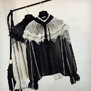 bcb938d46899 πουκάμισο γυναικών με δαντέλα σε μαύρο και άσπρο - ημιδιαφανές ...