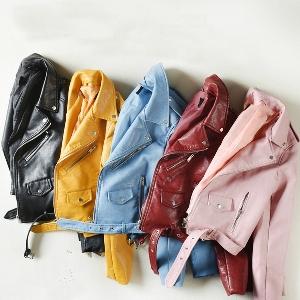 Дамски НОВИ актуални модели кожени якета в свежи цветове: Жъкт, Син, Розов, Червен, Черен