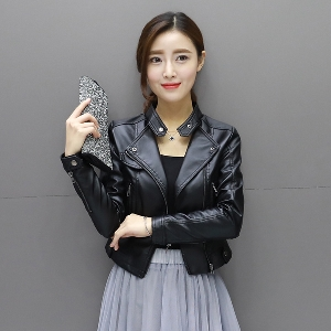 Lady μικρό δερμάτινο σακάκι φερμουάρ: Μαύρο, Λευκό, Ροζ