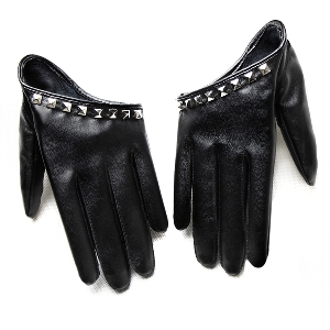 Стилни кожени дамски ръкавици - къси, в черен цвят със сребърни и златни капси