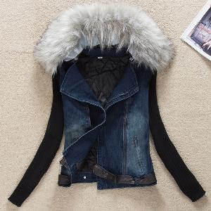 Стилно дънково яке за жени с пух в различни цветове, в 2 модела